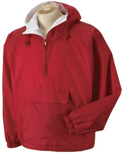 Pullover Hooded Nylon Pouch Jacket With Kasha Lining