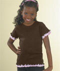 Girls Baby Rib Double Ruffle Tee